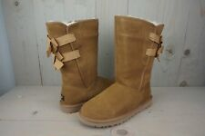 UGG EVERLEIGH CHESTNUT SUEDE BOW BACK WOMENS BOOTS US 10 NIB
