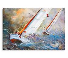 120x80cm Leinwandbild auf Keilrahmen Segelboote Regatta Meer Wellen Möwen