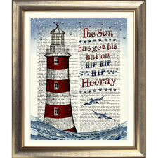 ART PRINT ON ORIGINAL ANTIQUE DICTIONARY BOOK PAGE Lighthouse Picture Seaside