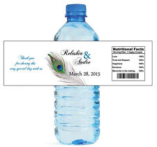 "100 New Peacock Wedding Bridal Shower Water Bottle Labels Engagement Bridal 8x2"""