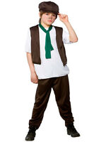 Victorian Poor Boy Fancy Dress Costume Oliver Twist Kids Childs Outfit Age 3-13