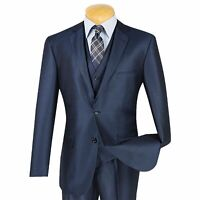 Men/'s Taupe Brown Sharkskin 3pc 2 Button Slim-Fit Suit w// Matching Vest NEW