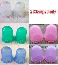 2 x Large Set of 2 cups cupping Silicone Vacuum Anti Cellulite Massage Body Cups