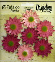 PINK Mix 7 Mini DAISY Paper Flowers Green Cntr 30mm across Darjeeling Petaloo