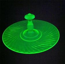 Vintage Green Vaseline glass center Handled Swirl pattern sandwich tray