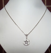 "Crescent Moon Star Pentagram Pendant 18"" Chain Necklace in Gift Bag"