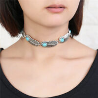 AQX001-Turquoise Stone Feather Chokers Necklace Leaf Beaded Link Chain