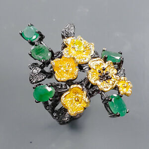 Jewelry Wholesale Emerald Ring Silver 925 Sterling  Size 7.5 /R178956