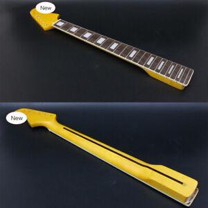 DIY Guitar Neck 22fret 25.5inch Canada Maple Fretboard Block Inlay Yellow Paint