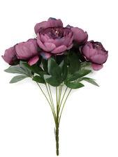 9 Head Artificial Peony Flower Bush x 42cm - Purple