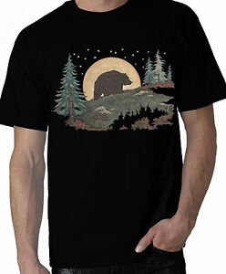 Bear Shirt, Grizzly Brown Bear Walking in Moonlight, Woods, Sm - 5X