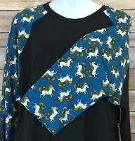 Lularoe Randy T Size 3XL Women's Plus Actual Unicorn Black Blue Shirt Top HTF