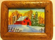 Original Oil Painting of Barn in Frame with Glass... 5 x 6 1/2 framed