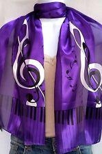 Silk Feel Music Scarf- G Clef & Piano Keyboard Black on Purple Chorus Band 1284