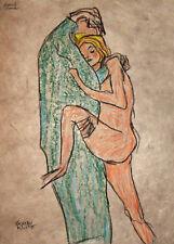 Gustav Klimt Liebespaar in Seitenansicht Paar Nude Akt Liebe Gabriele Sauler