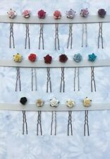 3 Rose Hairpins/Grips Wedding bridal Bridesmaid Flower Accessories Many Colours