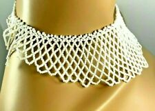 HANDMADE WHITE BEADED CHOKER BRIDAL COSTUME PARTY COLLAR FASHION NECKLACE