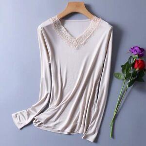 Women's 50% Silk Knit Lace T-Shirt Long Sleeve undershirt Classical top SG314