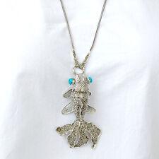 #C121  Long Collier Argent  925 Poisson Stylé Vintage Turquoise & Marcassites