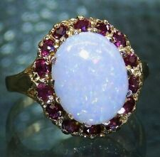 3Ct Oval Cut Fire Opal & Pink Ruby Halo Anniversary Ring 14K Yellow Gold Finish