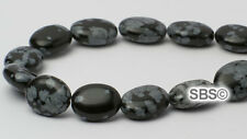 Snowflake Obsidian 8x10mm Flat Oval Stone Beads (approx. 16 inch strand