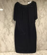 Boden Sz 16L Navy Blue Embellished Gem Sheath Mayfair Beaded Dress 16