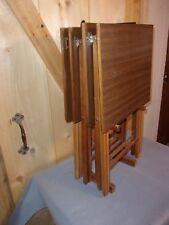 Vintage Scheibe Wood Folding TV Trays Snack Serving 4 Tables Set Mid Century