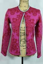 OLEANA Norway Cardigan Size M 100% Pure New Wool Pink Red Floral Damask Sweater