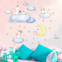 Clouds Rabbit Wall Stickers For Kids Rooms Decor Moon And The Stars Wall Decal T