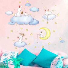 Adesivi murali con coniglio nuvole per bambini Camere Decalcomanie da muro Lun