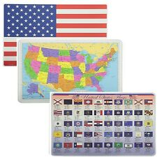 Painless Learning Educational Placemats USA Map Americam Flag And State Flags