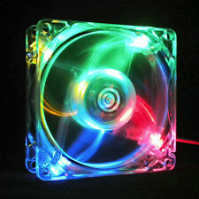 12V 80MM  4 LED Coloful 60CFM PC CPU Computer Cooling Fan Case 20 Mount S NoPF6X