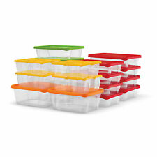 Plas Glas 60 Piece Stackable Plastic Food Storage Lunch Containers and Lids Set
