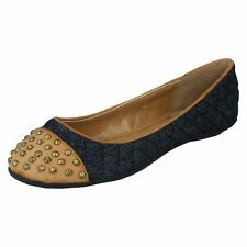 Anne Michelle L4933 Ladies Denim Blue Studded Dolly Shoes UK5&6 (R5B)