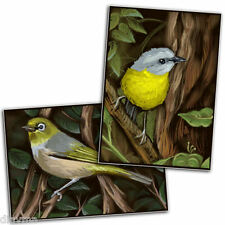 © ART - Ltd.Ed. set of 2x bird Robin Wrens ACEO Art cards by Di
