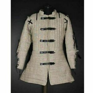 Halloween Gift Medieval Thick Padded White Gambeson Play Movies Custome Sca