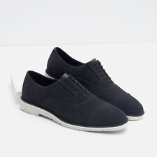 1bc84a0ff12 NWTS ZARA MAN Navy Blue White Leather Lace Up Oxford Casual Dress Shoes 40 7