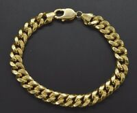 "Mens 9mm 10k Real Yellow Gold Miami Cuban Curb Chain Bracelet. 9"" 21.1gr"