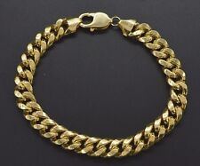 "Mens 9mm 10k Real Yellow Gold Miami Cuban Curb Chain Bracelet. 9"" 21.1gr"