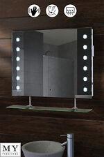 LED ILLUMINATED BATHROOM MIRROR WITH SHELF DEMISTER SHAVER SENSOR - REFLEX-WS