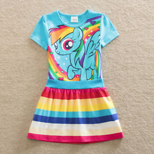 My little pony green /pink / blue colourful rainbow 100% cotton dress(3-8 Years)