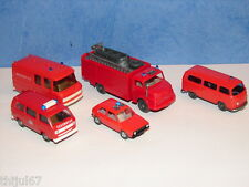 N°14 WIKING ET ROCO LOT DE 5 VEHICULES POMPIERS SECOURS ACCIDENTS ET NOYADES HO