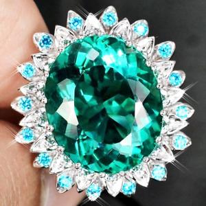Women Emerald Gemstone Oval Cut 18K White Gold Filled Sunflower Cocktail Ring