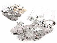 Black Open Toe Blink Slingbacks Ankle Strap Rhinestones Womens Sandals Size 6