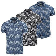 Mens Firetrap Lightweight Short Sleeve Denim Floral Shirt - Slim Fit