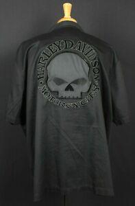 Harley-Davidson Embroidered Willie G Skull Button Short Sleeve Shirt Mens 2XL