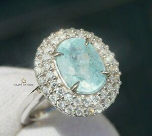 Paraiba Tourmaline Ring Gold Diamond Natural 3.92CT GIA Certified RETAIL $12200