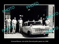 OLD LARGE HISTORIC PHOTO OF LEAWOOD KANSAS, THE CHEVROLET POLICE CAR c1960