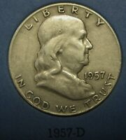 1957-D Ben Franklin Silver Half Dollar Average Circulated Condition Great Price