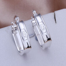 Elegant Square Fashion 925 Stamped Sterling Silver Hoop Earrings Jewelry A618